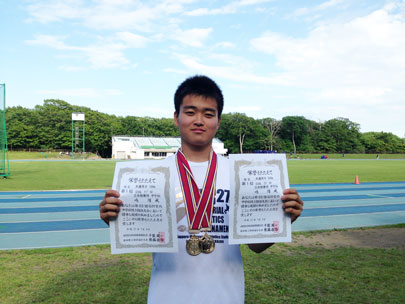 中学陸上競技部 石狩管内中体連で男子100m 3年連続優勝!