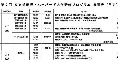 第3回 立命館慶祥・ハーバード大学研修プログラム【出発前日】